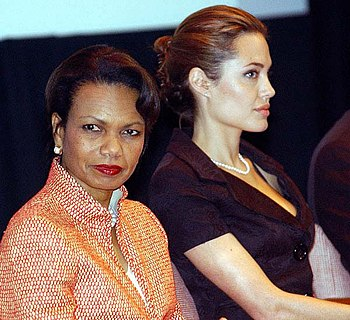 English: Angelina Jolie and Condoleezza Rice d...