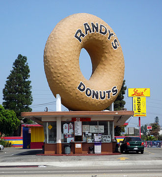 Inglewood, California - Randy's Donuts is a landmark in Inglewood, near the San Diego Freeway, also known as 405 Freeway.