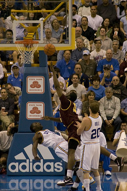 James Harden makes contact with Alfred Aboya inside. 20090117 James Harden makes contact with Alfred Aboya inside.jpg