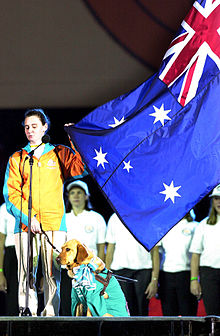 201000 - Opening Ceremony Athletes Oath swimmer Tracey Cross - 3b - 2000 Sydney opening ceremony photo.jpg