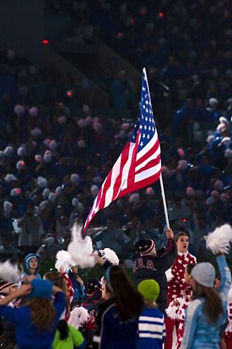 United States at the 2010 Winter Paralympics - Heath Calhoun carrying the U.S. flag at the Opening Ceremony of the 2010 Winter Paralympics in Vancouver, British Columbia, Canada on March 12, 2010