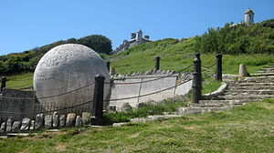 Great Globe - The Great Globe with Durlston Castle in the rear