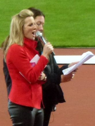 Gabby Logan - Gabby Logan hosting the London Olympic Stadium opening ceremony in 2012