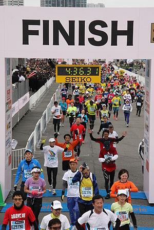 Tokyo Marathon - Fun runners finishing the 2012 race