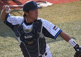 20130818 Masasi Nisimori, catcher of the Yokohama DeNA BayStars, at Yokohama Stadium.JPG