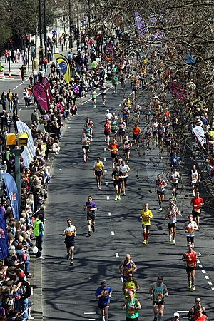 London Marathon - Amateur runners in the race running along Victoria Embankment