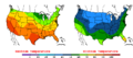 2015-10-14 Color Max-min Temperature Map NOAA.png