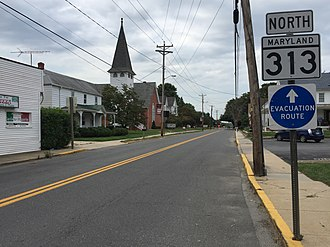Maryland Route 313 - View north along MD 313 in Sudlersville