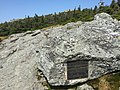 2017-09-11 12 47 08 Boulder with the Mount Mansfield Natural Area plaque along the Long Trail between the Nose and the Chin of Mount Mansfield within Mount Mansfield State Forest in Stowe, Lamoille County, Vermont.jpg