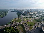 2018-07-13 Aerial photograph of Dniprovska Embankment and Sobornosti avenue intersection.jpg