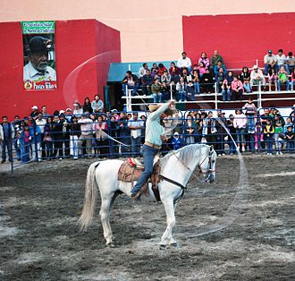 Lasso - Charro with lariat at a horse show in Pachuca, Hidalgo, Mexico