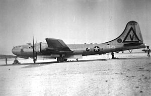 301st Air Refueling Wing - 301st Bombardment Wing -- Boeing B-29A Superfortress 44-61640. Taken at Smokey Hill AFB, Kansas, 1948. Note Triangle-V SAC Tail Code, Eighth Air Force.
