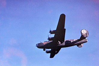RAF Hethel - A B-24 Liberator of the 389th Bomb Group returns to RAF Hethel.
