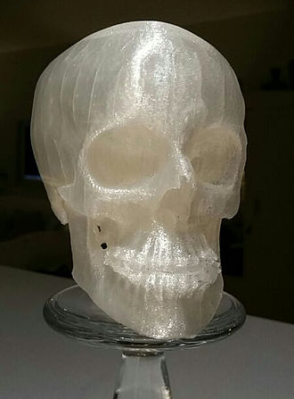 Polylactic acid - 3D Printed Human skull with data from Computed Tomography. Transparent PLA.