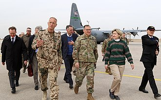 War in Afghanistan (2001–present) - Curtis Scaparrotti, the Supreme Allied Commander Europe, and Kay Bailey Hutchison with Brig. Gen. Wolf-Jürgen Stahl in Afghanistan in February 2018