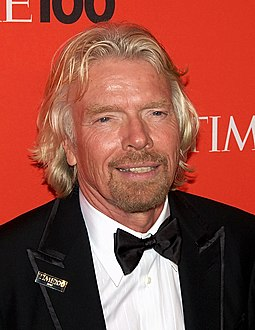 Branson at the Time 100 Gala in May 2010. Known for his informal dress code, this was a rare occasion he didn't wear an open shirt. 5.3.10RichardBransonByDavidShankbone.jpg