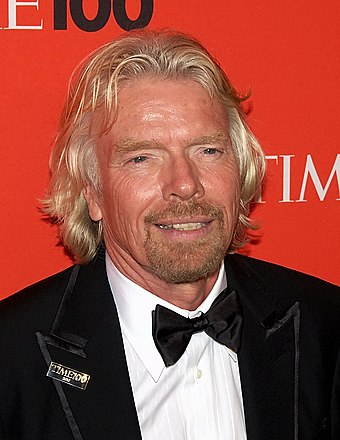 Branson at the Time 100 Gala in May 2010. Known for his informal dress code,[58]:110 this was a rare occasion he didn't wear an open shirt.