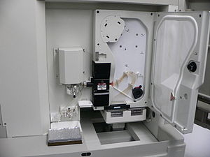 Genomics - An ABI PRISM 3100 Genetic Analyzer. Such capillary sequencers automated early large-scale genome sequencing efforts.