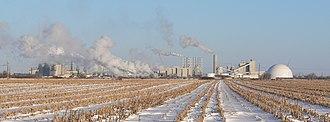 Corn ethanol - Corn-processing plant near Columbus, Nebraska.