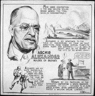 Archie Alexander - Archie Alexander biographical cartoon by Charles Alston, 1943