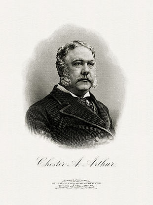 Engraved portrait of Arthur as president (Bureau of Engraving and Printing)