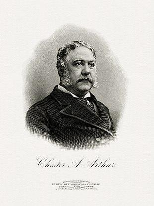 retrato gravado de Arthur como presidente (Bureau of Engraving and Printing)