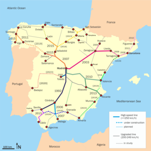 History of rail transport in Spain - High speed lines operating, under construction and planned.