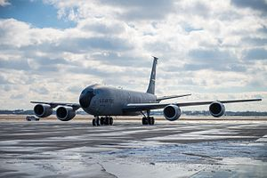 A KC-135 Stratotanker arrives at Niagara Falls Air Reserve Station, N.Y., marking its official arrival (32006032823).jpg