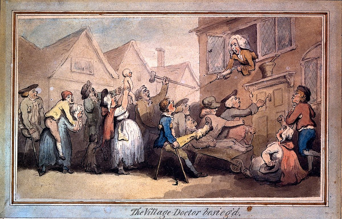 A angry mob of villagers protesting outside the house of a d Wellcome L0016956.jpg