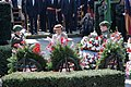 A distinguished guest places a wreath at the Madison Memorial during a ceremony commemorating the 40th anniversary of D-day, the invasion of Europe - DPLA - 58b7f25ae31ff3b9e163d540a8fd713b.jpeg