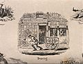 """A man pulling a cart past the exterior of """"Monsr. Curedent""""' Wellcome V0012082.jpg"""