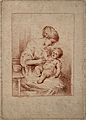 A woman feeding her happy baby. Colour stipple engraving by Wellcome V0015052.jpg