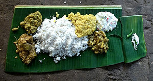 Cuisine of Odisha - Abadha, the afternoon meal of the Jagannath Temple served on a plantain leaf.