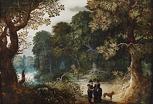 Abraham Govaerts - An elegant couple strolling through the forest