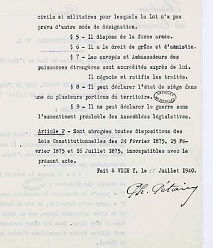 French Constitutional Law of 1940 - Act No 2, reverse.