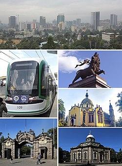 由上顺时针:亚的斯亚贝巴天际线、非盟会议中心、犹大之狮纪念碑(英语:Monument to the Lion of Judah)、圣三一大教堂、亚的斯亚贝巴大学、亚的斯亚贝巴轻轨列车