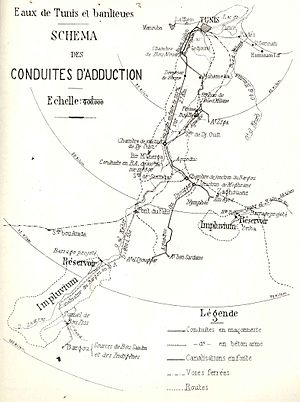 Zaghouan Aqueduct - Map of the channels running from Zaghouan and Jouggar to Tunis (1928)