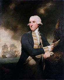 Painting of an elderly man in a wig, wearing naval uniform and holding a sheet of paper in his right hand. In the background two ships in full sail are visible.
