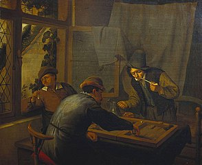 Three Backgammon Players in an Interior
