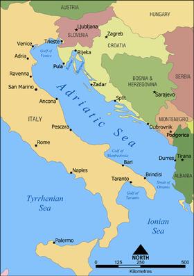 Mapa político de la región del mar Adriático
