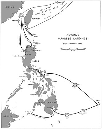 Philippines Campaign (1941–42) - Advance Japanese landings in the Philippines December 8–20, 1941