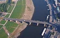 Aerial photo Dresden Augustus bridge Augustusbrücke from Neustadt left to city right across river Elbe Foto 2008 Wolfgang Pehlemann Wiesbaden IMG 0390.jpg