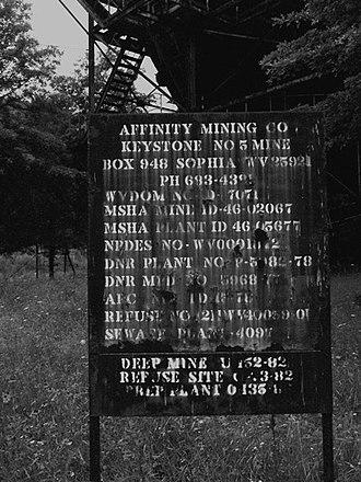 Affinity, West Virginia - Affinity West Virginia Mine sign