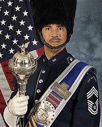 5c3b096223b Chief Master Sgt. Edward J. Teleky in the uniform of USAF Band Drum-Major