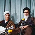 Akbar Rafsanjani with Ruhollah Khomeini in announcement of Mehdi Bazargan's primership.jpg