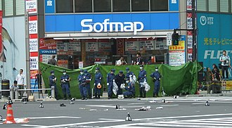 Akihabara massacre - The crossing in Akihabara shortly after the incident.