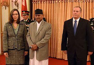 Ram Baran Yadav - Ram Baran Yadav with Alaina B. Teplitz,  Special Envoy and United States Ambassador to Nepal.