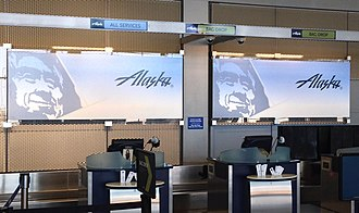 Alaska Airlines check-in Alaska Airlines Check In, 10000 West O'Hare Ave, Chicago, IL 60666, USA - Jun 2014.jpg