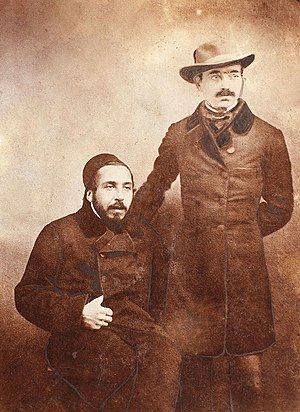 Mihail Kogălniceanu - Ion Ghica (seated) and Vasile Alecsandri, photographed in Istanbul (1855)