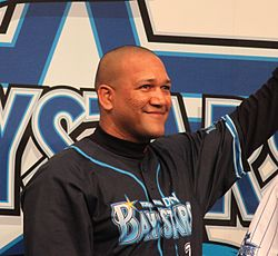 Alexander Ramon Ramirez, outfielder of the Yokohama BayStars, at Queen's Square Yokohama.JPG